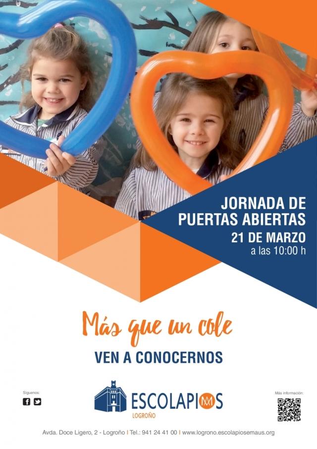 Jornada de puertas abiertas. 21 de marzo. Escolapios Logroño